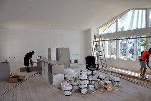 Living room construction at the Youngcare Share House in Wooloowin