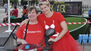 Youngcare CEO Sam and resident Tim at the Youngcare Budgie Bolt in Brisbane 2015