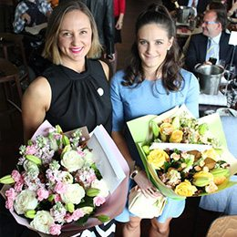 Abby Mackay and Mary McLean with flowers at the Youngcare Long Lunch 2015