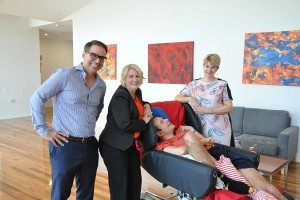 Nic de Luca, Coralee O'Rourke and Sam Kennerley with Brian at the Wooloowin Share House