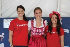 Youngcare volunteer Sarah at Oktoberfest with two other ladies