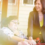 Trina-cutting-the-ribbon-to-officially-open-the-Wooloowin-Share-House
