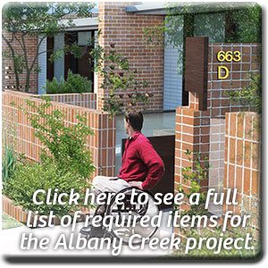 Click here to see a full list of required items for the Albany Creek project