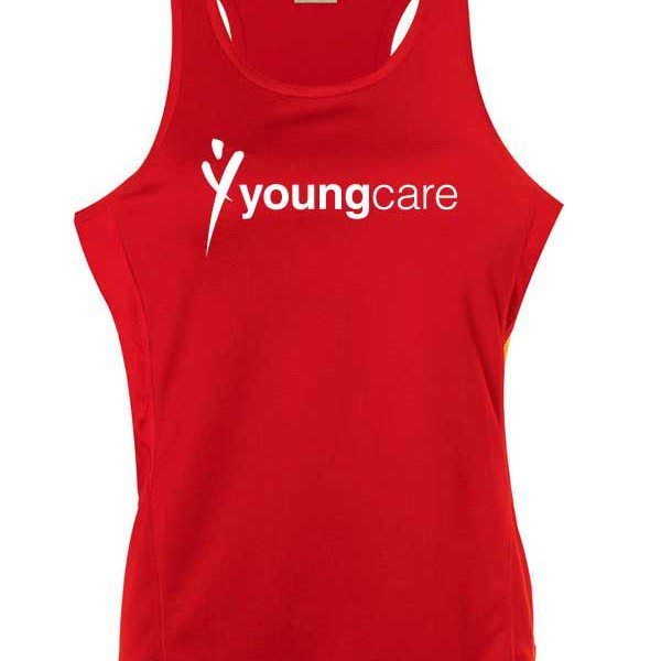 red youngcare singlet in sports fabric