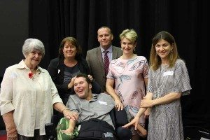 Youngcare Wesley Mission Brisbane resident Ryan Douglass with his Mum, Barbara and Grandmother, Deborah, Youngcare Connect Manager Shane Jamieson, Youngcare CEO Samantha Kennerley and Operations Manager Melissa Morrison at the National Injury Insurance Scheme launch in Queensland.