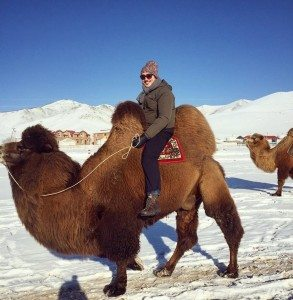 Sean in Mongolia on a camel