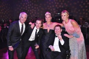 Andrew Lofthouse (Channel 9), Tim Blackwell (Nova), Jane Stafford (Suncorp), Tim Martin (Youngcare resident) and Sylvia Jeffreys (Channel 9) enjoy Black Tie Bingo