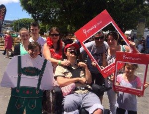 Youngcare Wooloowin Share Housemate Brian with family and friends at 2015 Oktoberfest Brisbane