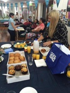 Fossil's Group Management Team enjoy pastries with the Youngcare Wesley Mission Sinnamon Park residents