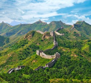 The steep, rolling hills of the Great Wall of China