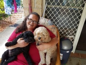 Brenda and her doge, Archie and Angus