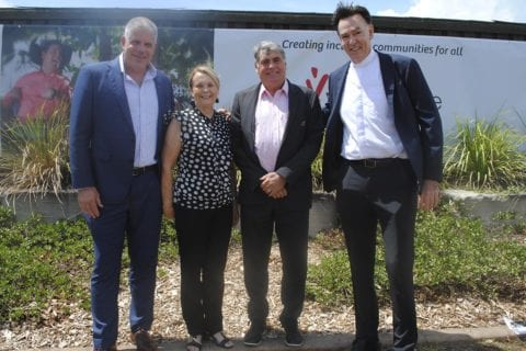 Anthony Ryan Youngcare CEO, Moreton Bay Regional Council Division 4 Councillor Julie Greer, Mayor Allan Sutherland and Father Bryan Roe Parish Priest Northlakes
